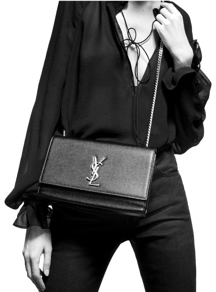 Saint Laurent Monogram Kate Ysl Medium Black With Silver