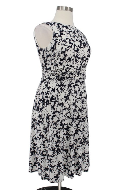 Chaps Floral Jersey Ruching Fit Flare Dress Image 2