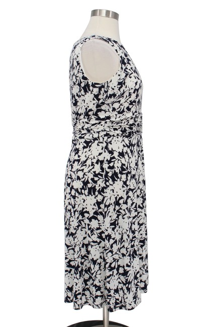 Chaps Floral Jersey Ruching Fit Flare Dress Image 3