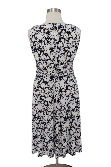 Chaps Floral Jersey Ruching Fit Flare Dress Image 4