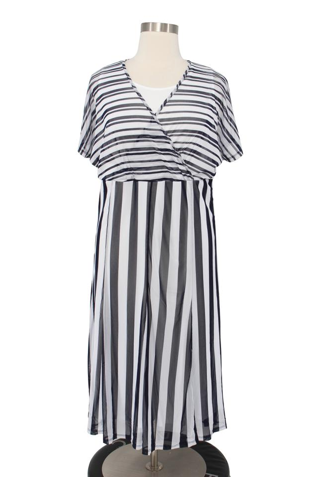 Jessica London Blue & White Striped Chiffon Empire Waist Flowy Mid-length  Casual Maxi Dress Size 18 (XL, Plus 0x)