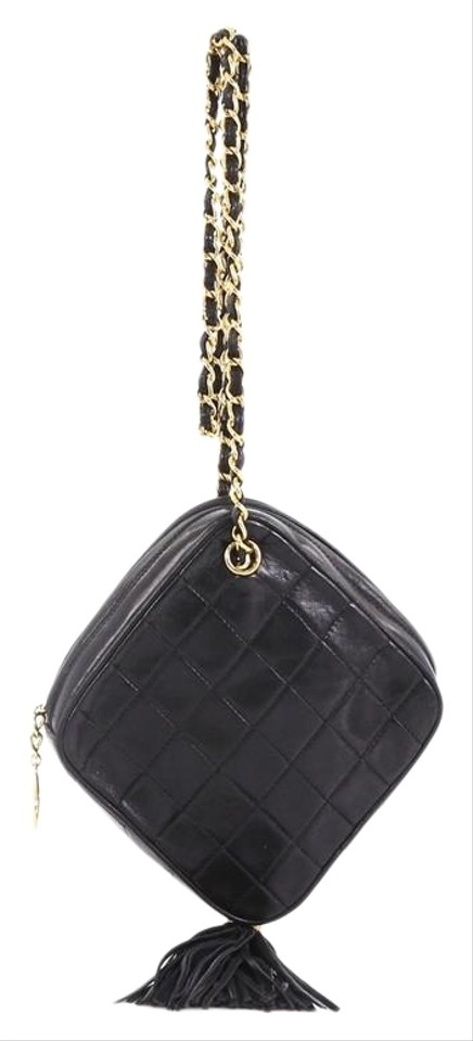 d8f74cd31038 Chanel Vintage Diamond Tassel Quilted Small Black Lambskin Cross Body Bag