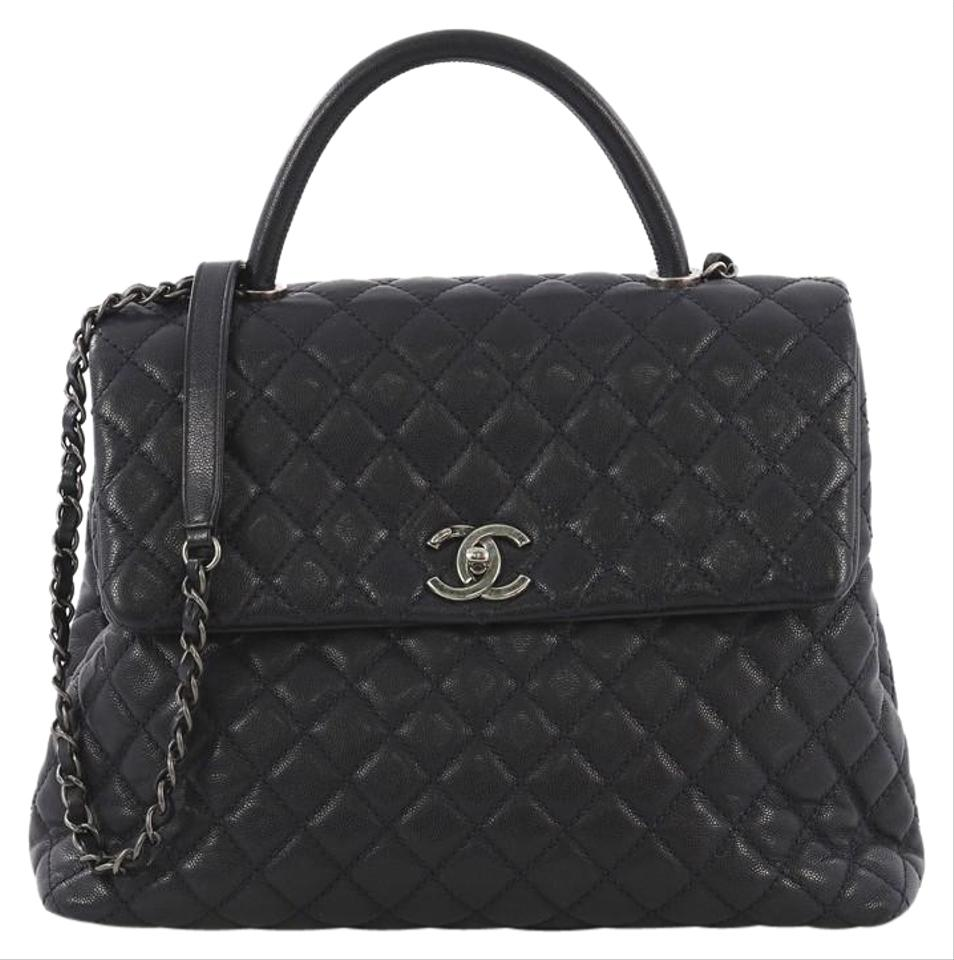 Chanel Top Handle Coco Quilted Caviar Large Navy Leather