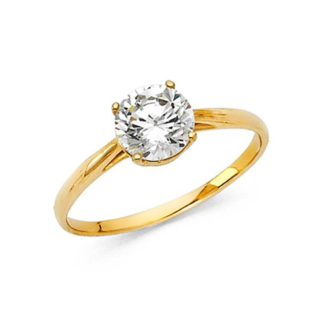 Top Gold & Diamond Jewelry Yellow Solitaire 1-ct 4-prong Basket-set Round-cut Cz Wedding In 14k Ring Top Gold & Diamond Jewelry Yellow Solitaire 1-ct 4-prong Basket-set Round-cut Cz Wedding In 14k Ring Image 1