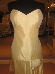 Badgley Mischka Yellow, Buttercup Strapless Taffeta Gown Dress