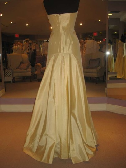 Badgley Mischka Yellow Buttercup Taffeta Strapless Gown Formal Dress Size 6 (S)