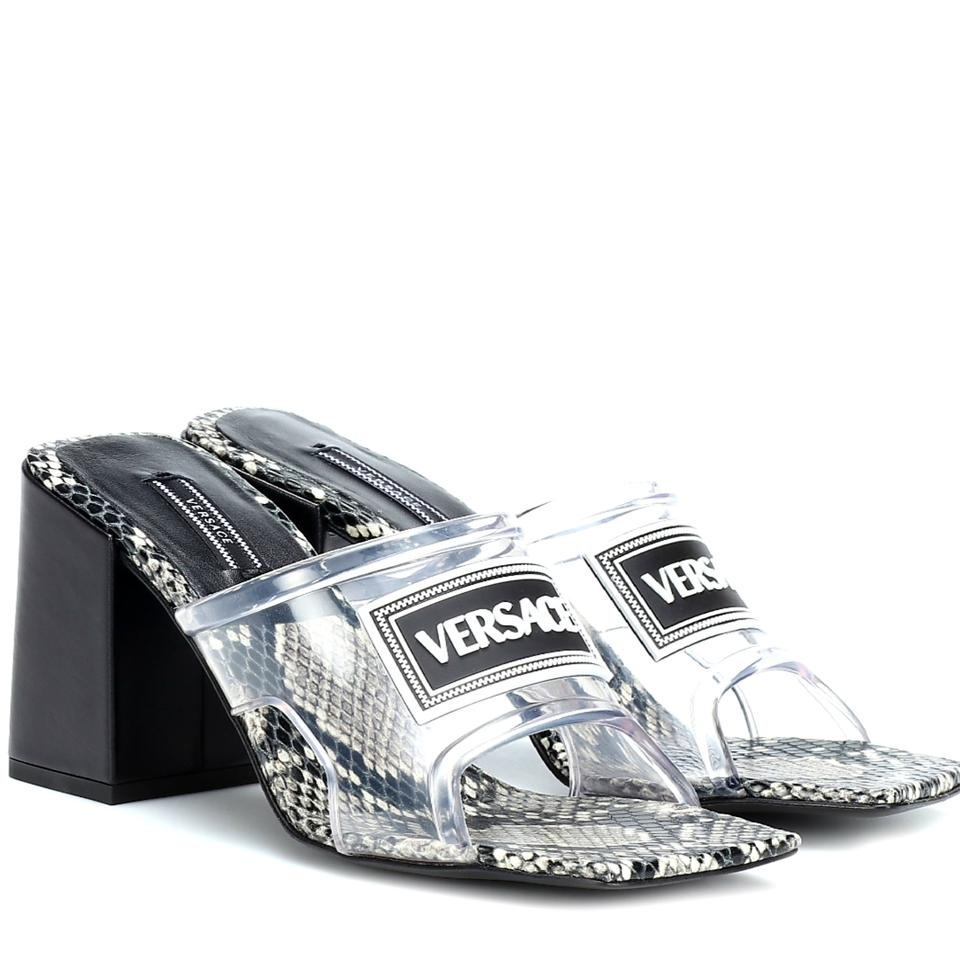 a563eb56350 Versace Black White Leather and Pvc (90s Vintage Logo Mid Heel ...