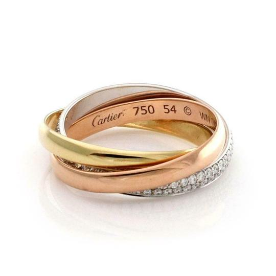 Cartier Trinity Pave Diamond 18k Gold Rolling Band Ring Size 54-US 7 Paper Image 1