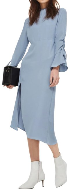 Item - Blue Ruched Asymmetrical Midi Mid-length Work/Office Dress Size 10 (M)