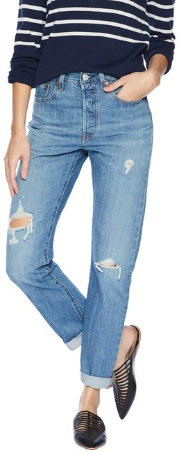 Item - Blue Distressed In Time Lapse Straight Leg Jeans Size 32 (8, M)