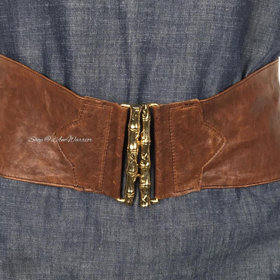 ad024d910355 B-Low the Belt Cognac Brown Rare Gold One Bamboo Clasp Leather Belt ...