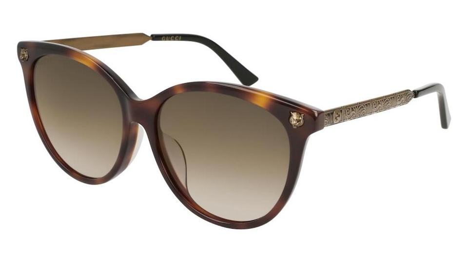 649afcdcd6a Gucci Dark Tortoise Frame   Brown Gradient Lens Gg0223sk 005 Round Style  Wom Image 0 ...