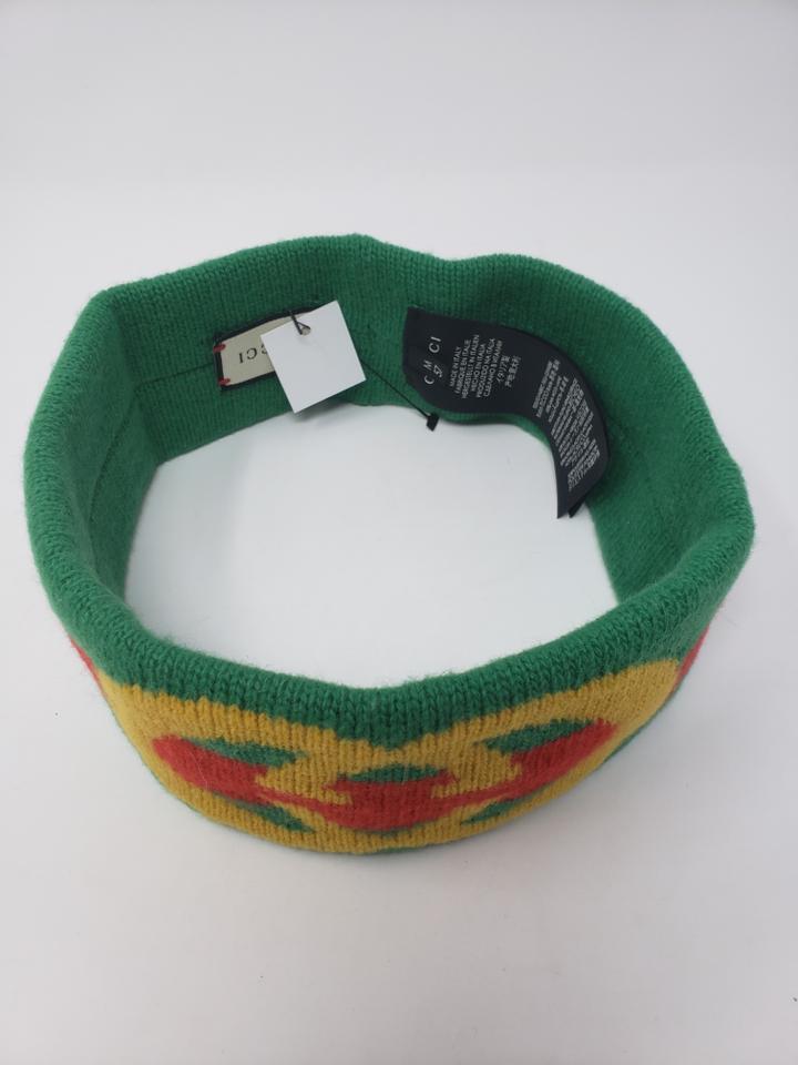 946dff5ebf2 Gucci Multicolor Green Red Yellow Wool Gg Lock Web Headband Hat ...