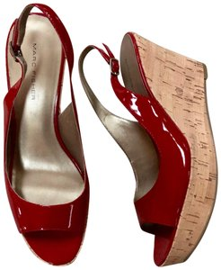 Marc Fisher Cork Wedge Open Toe Red Patent Platforms