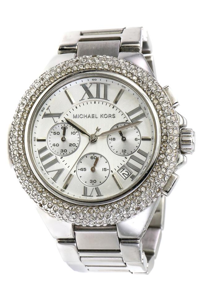 007d978e3a93 Michael Kors Stainless Steel Paved Crystals Camille Chronograph ...