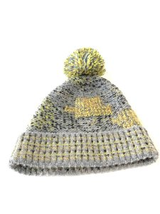 Chanel Grey Yellow Tweed CC Button Skully Cap Beanie Hat 235995