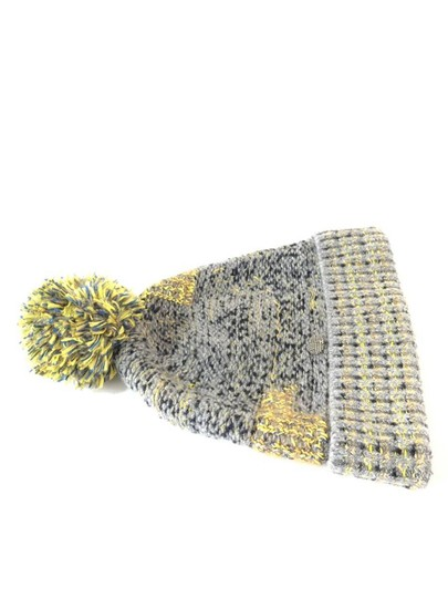 Chanel Grey Yellow Tweed CC Button Skully Cap Beanie Hat 235995 Image 11