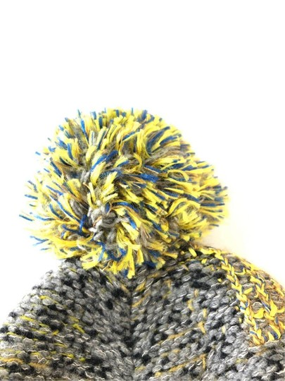 Chanel Grey Yellow Tweed CC Button Skully Cap Beanie Hat 235995 Image 3