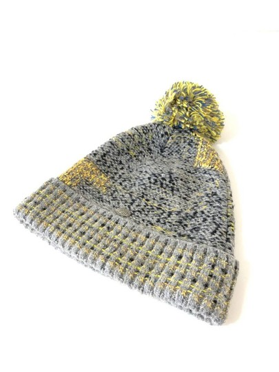 Chanel Grey Yellow Tweed CC Button Skully Cap Beanie Hat 235995 Image 6