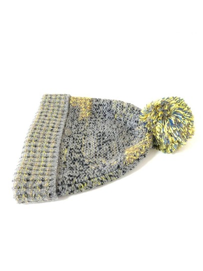 Chanel Grey Yellow Tweed CC Button Skully Cap Beanie Hat 235995 Image 9