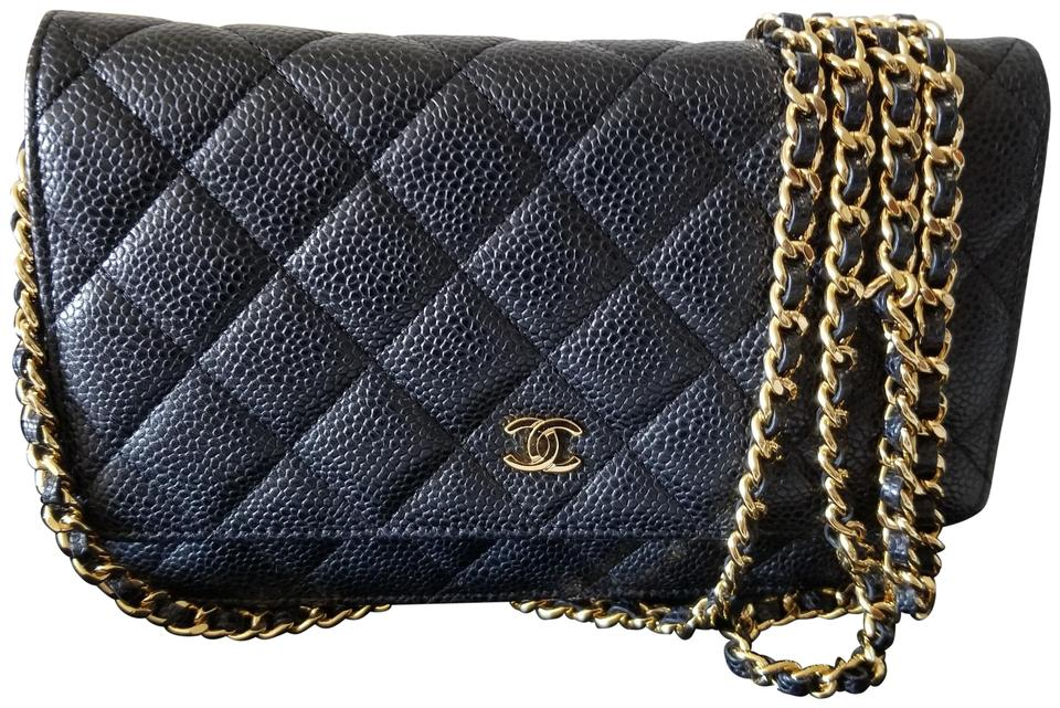 4d5b6bee27f7 Chanel Wallet on Chain Gold Hardware Black Caviar Leather Cross Body Bag