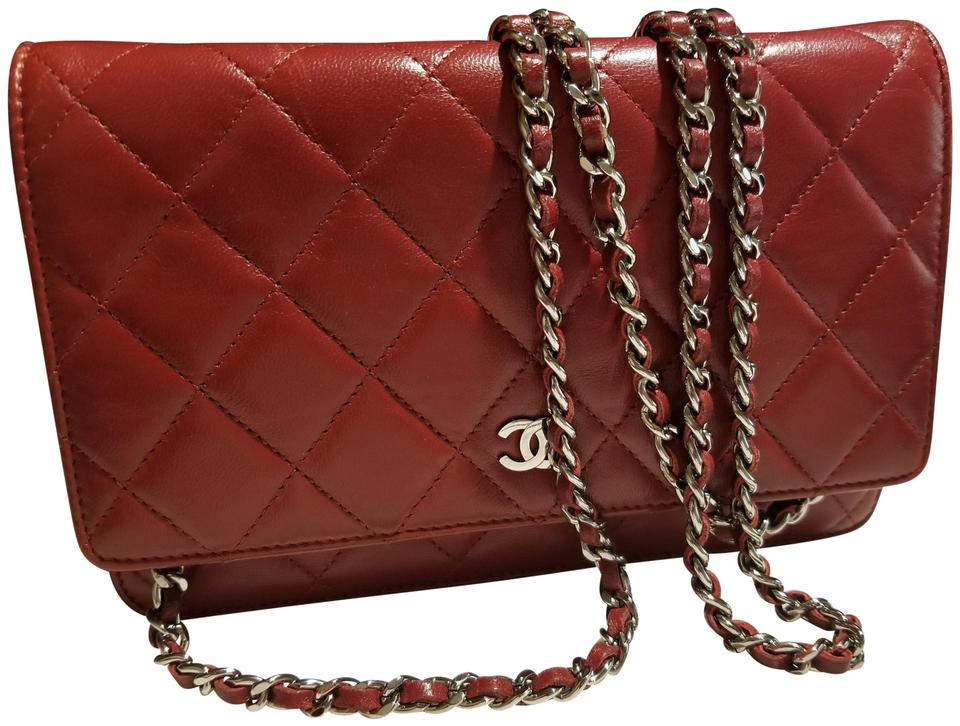 b9b5634a7560 Chanel Wallet on Chain With Silver Hardware Red Lambskin Leather ...