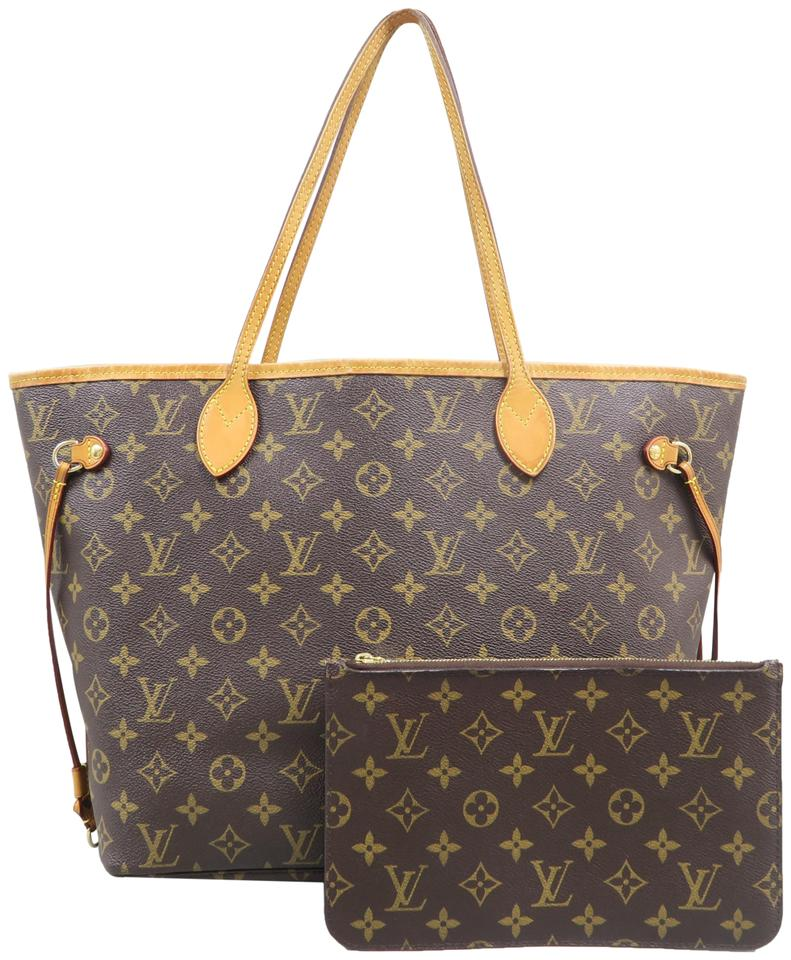 24f9f52b77e6 Louis Vuitton Neverfull W Mm Monogram W Pouch Brown Canvas Shoulder ...