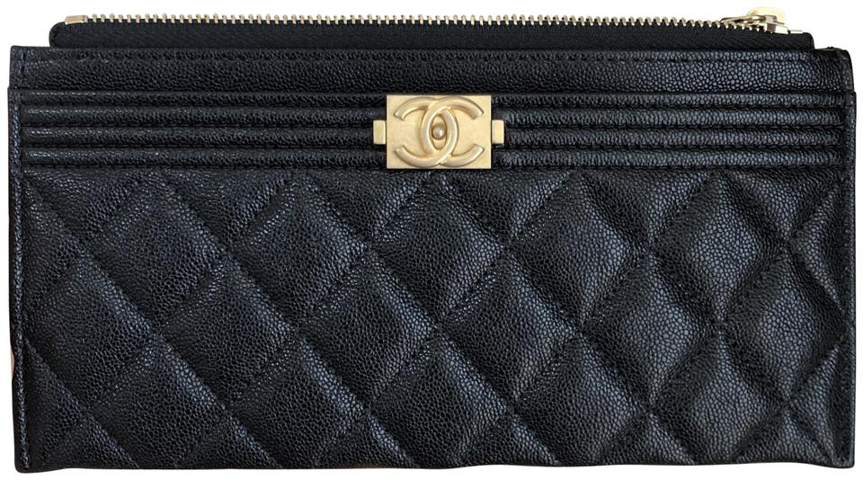 8fd0d794f84d Chanel Black Boy Caviar Quilted Pouch Wallet - Tradesy