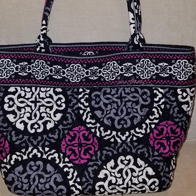 Item - Gently Used Small Black/White/Pink/Grey Cotton Tote