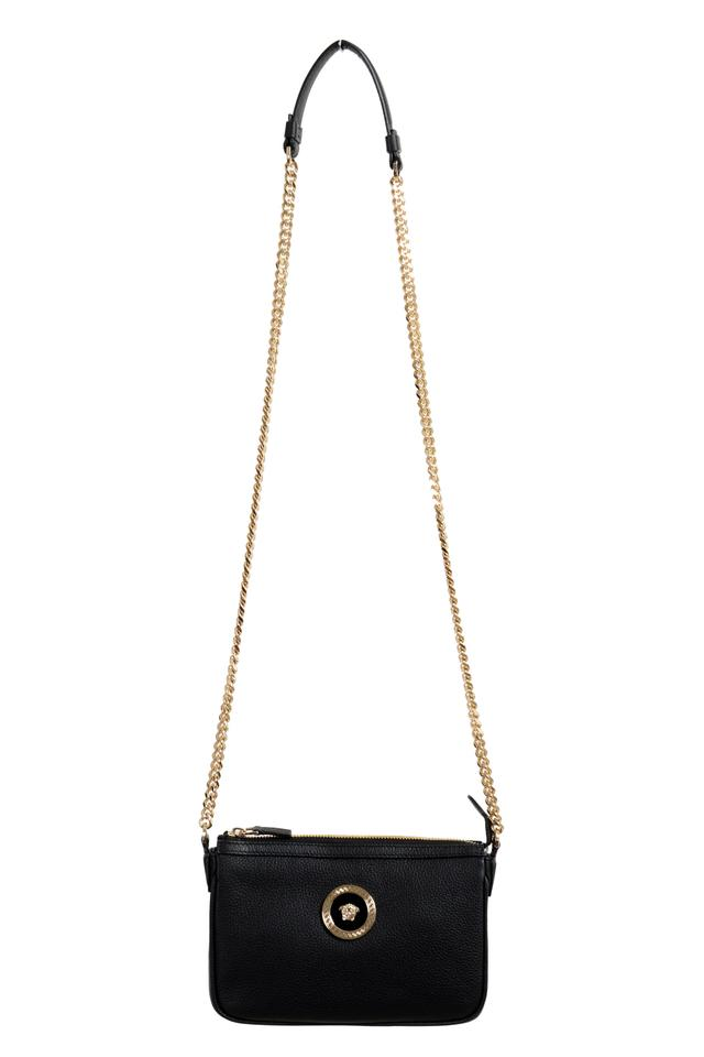 7cd3671b0d Versace Crossbody Chain Strap Women's Black Leather Shoulder Bag 53% off  retail