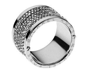 Michael Kors FS NEW Michael Kors Silver Gunmetal Barrel Ring Pave 8