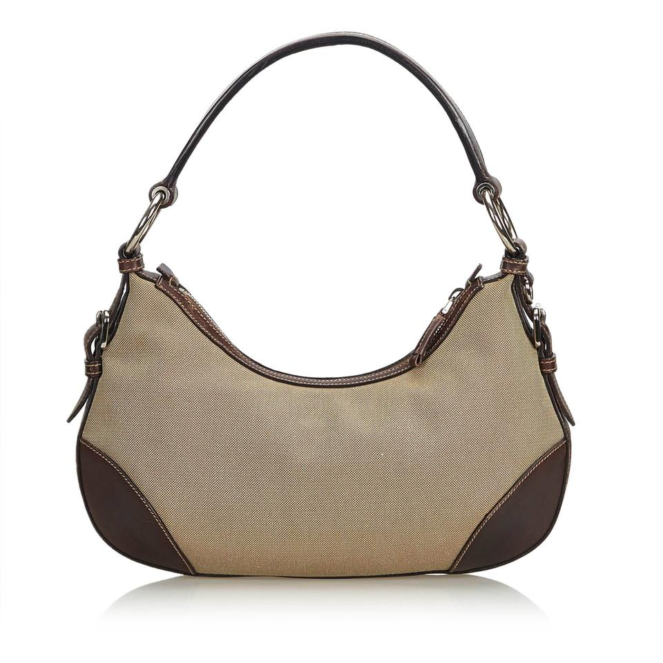 e4b3b919e75bca Prada Canapa Khaki Fabric Italy W Dust Brown Canvas Leather Hobo Bag -  Tradesy