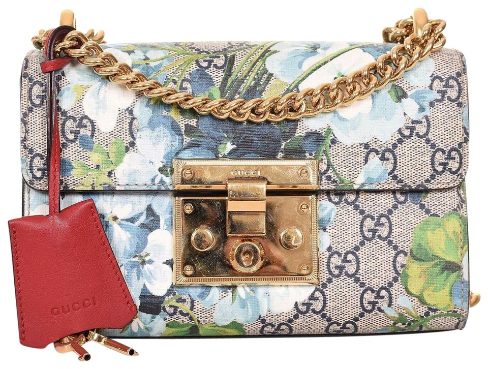 c3477d74c609 Gucci Padlock Blooms Gg Supreme Small Gold Chain Shoulder Purse Multicolor  Leather Cross Body Bag