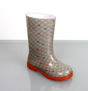 Gucci Beige/Ebony W Kids Rain Boot W/Gg Star Print 20/Us 4 313913 Shoes