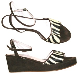 Boden Peep Toe Animal Print Calf Hair Zebra Sandals Brown Wedges