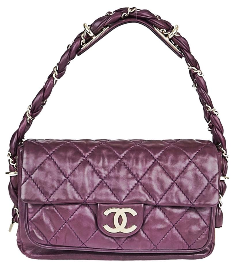 5f14a7c727f2 Chanel Classic Flap Quilted Lady Braid Purple Lambskin Leather ...