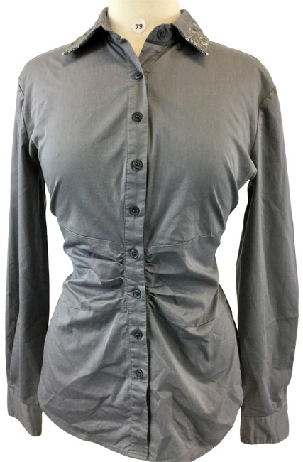 Item - Gray Button-down Top Size 8 (M)