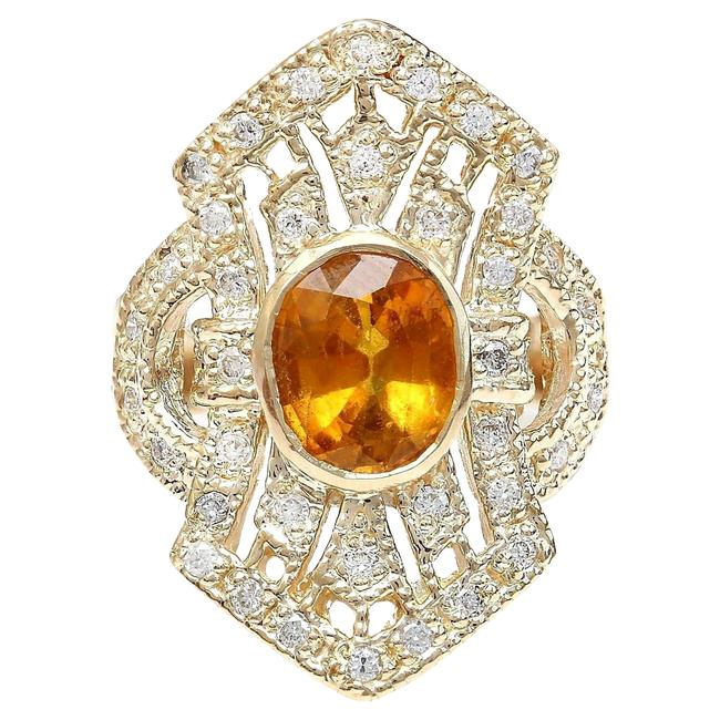 Item - Yellow 2.88 Carat Natural Sapphire 14k Solid Gold Diamond Ring
