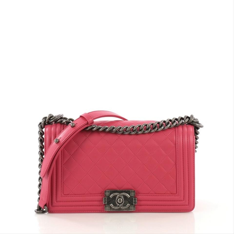 673bdc95d765a7 Chanel Classic Flap Boy Quilted Old Medium Hot Pink Calfskin Leather  Shoulder Bag
