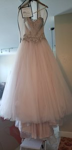 Allure Bridals Oatmeal/Blush Tulle C232 Formal Wedding Dress Size 4 (S)