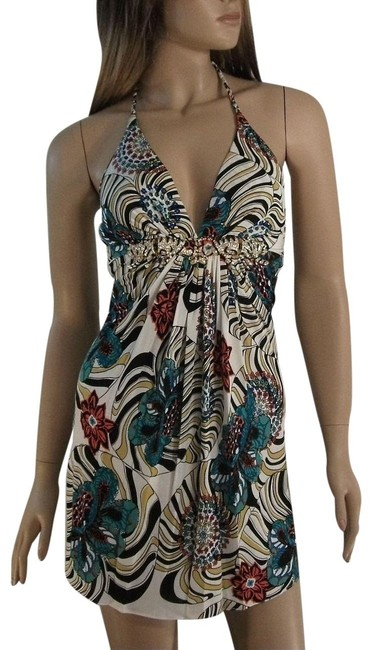 Item - Multi-color Brand Silk Top with Crystal Tigers Short Night Out Dress Size 12 (L)