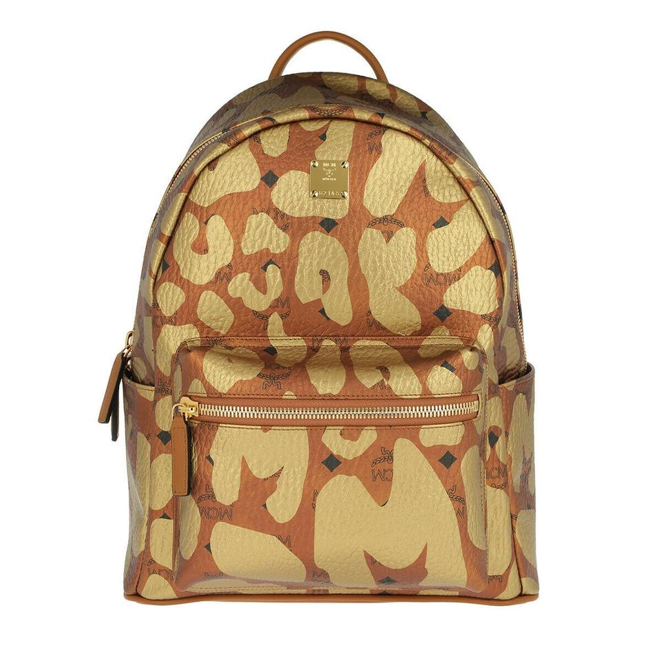 a7696bdfbeb1 MCM Stark Leopard Print Monogram Coated Canvas Small Cognac Leather Pvc  Backpack