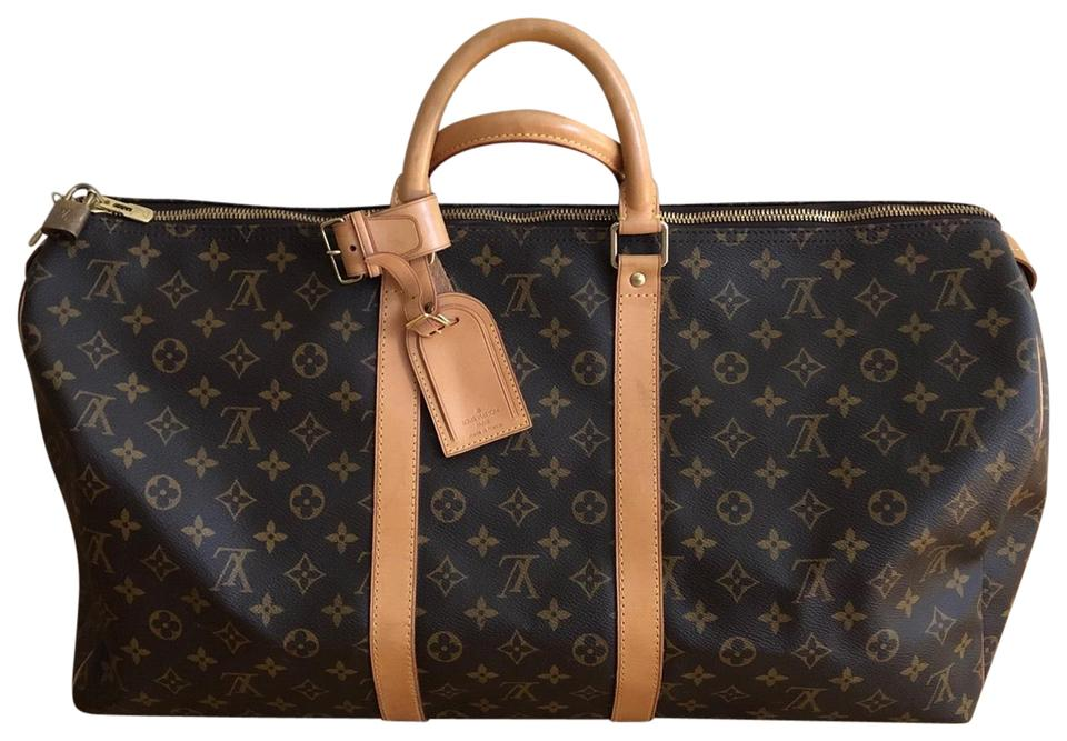 Louis Vuitton Duffle Keepall Monogram 55 Luggage Brown Canvas And Leather Weekend Travel Bag 38 Off Retail