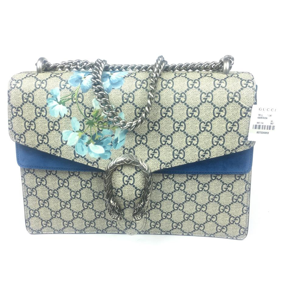 3a636f2ddbc Gucci Dionysus  400235 Medium Blooms Beige Blue Gg Supreme Coated Canvas  and Leather Shoulder Bag