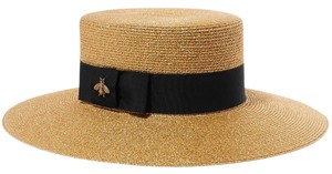 Gucci Grosgrain-trimmed glittered straw hat Large