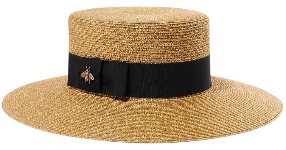 480383a6422c1 Gucci Grosgrain-trimmed glittered straw hat Large Image 0 ...