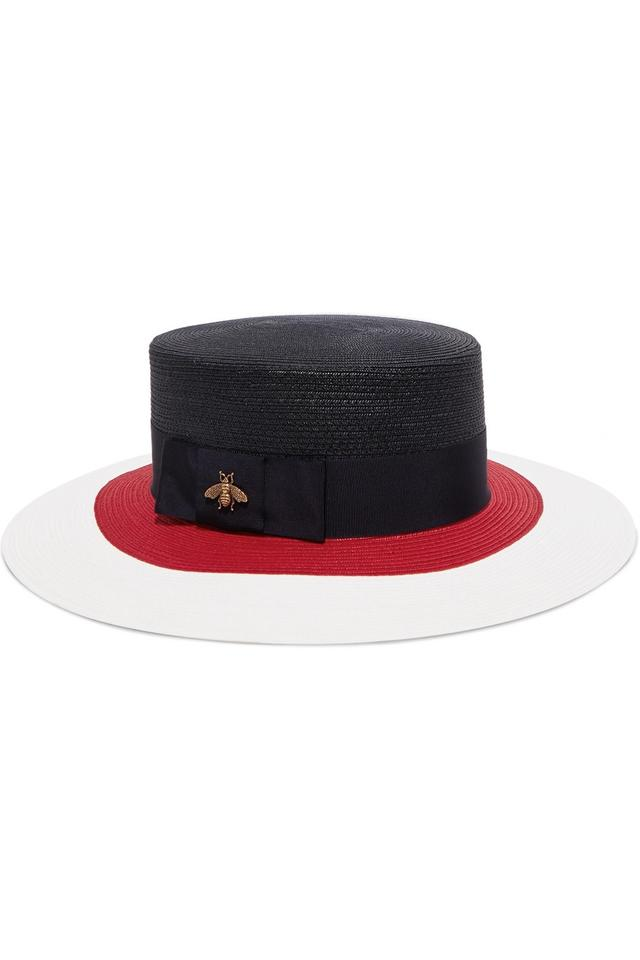 a2a522cc62bbe Gucci Embellished grosgrain-trimmed straw hat Large Image 0 ...