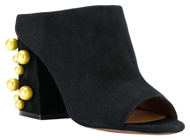 Item - Black Paris Suede with Contrasting Pearls Mules/Slides Size EU 36.5 (Approx. US 6.5) Regular (M, B)