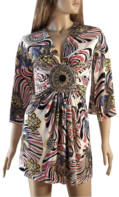 Item - Multi-color Kimono Brand Silk Mini Top with Sleeve and Medallion Short Night Out Dress Size 12 (L)