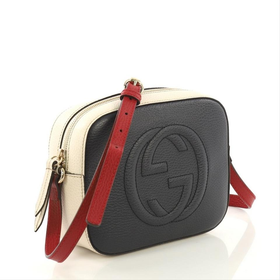58230545bccf8c Gucci Soho Disco Small Navy Red and White Leather Cross Body Bag - Tradesy